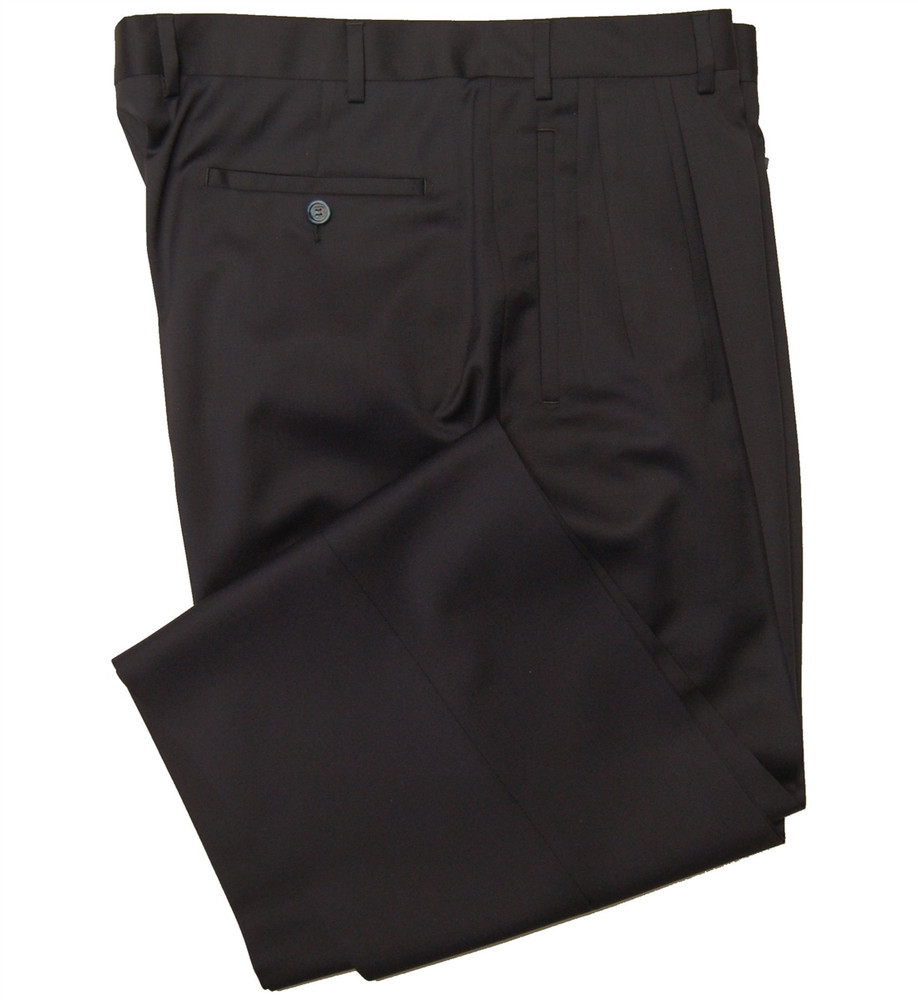 'Jesse Fit' Super 110's Wool Serge Four Reverse Pleat Trouser in Navy Wool Serge (Size 34) by Bruno Sartore