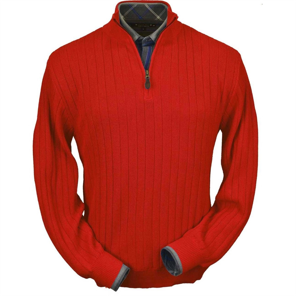 Baby Alpaca Link Stitch Half-Zip Mock Neck Sweater in Red by Peru Unlimited