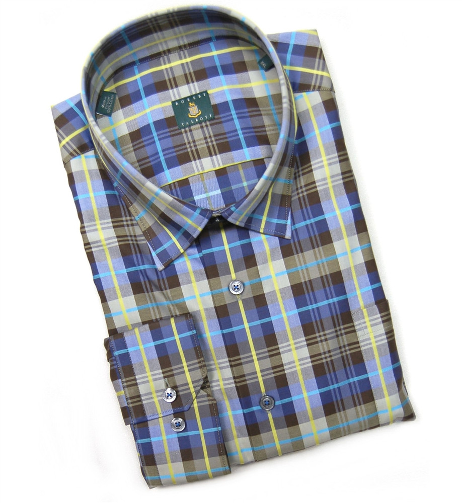 Brown and Blue 'Anderson' Check Sport Shirt by Robert Talbott