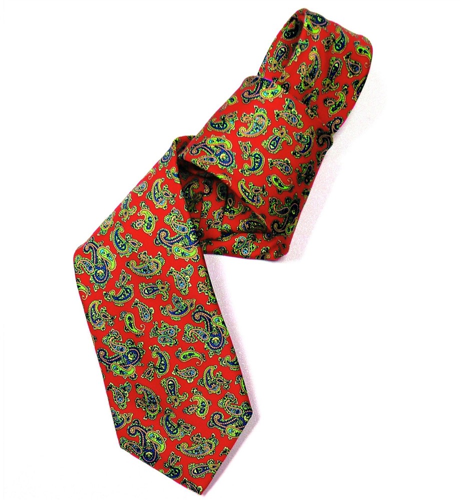Red, Blue, and Green Paisley Silk Tie by Marchesi di Como