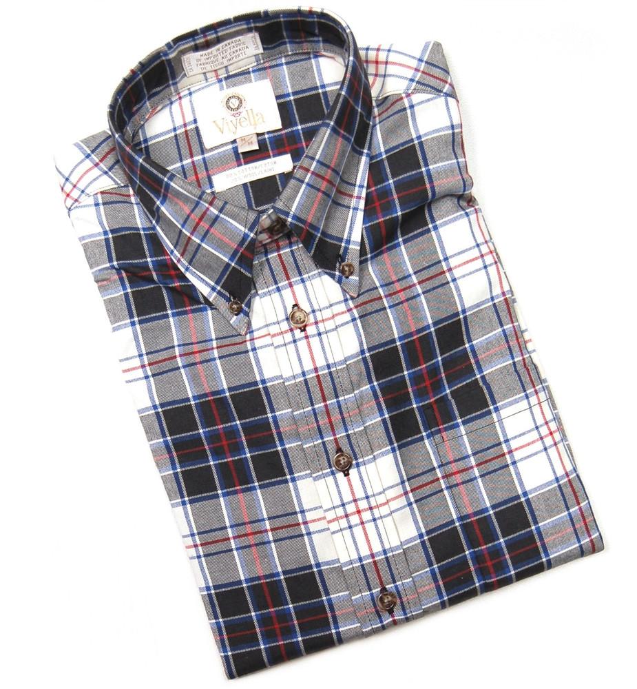 Black, Winter White, Red, and Blue Plaid Shirt by Viyella