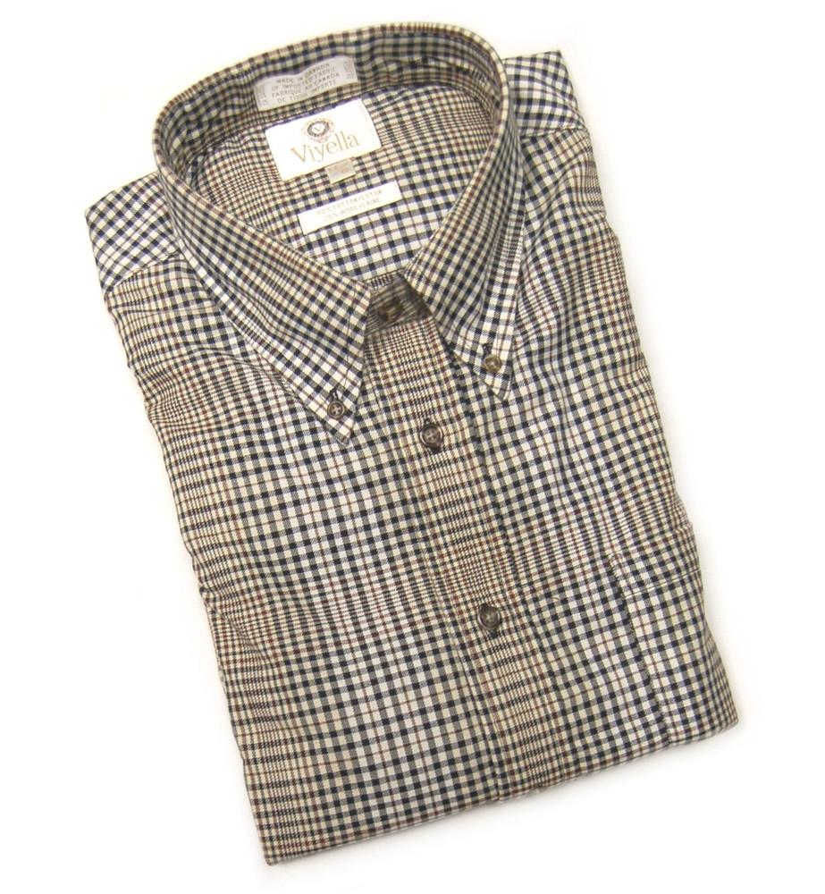 Black and Tan Plaid Shirt (Size XX-Large) by Viyella