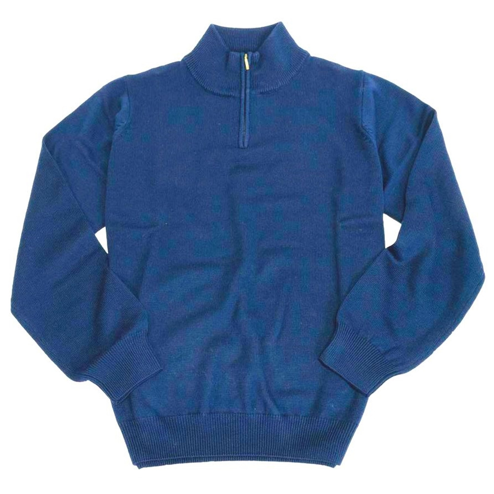 Merino Wool Quarter-Zip Mock Neck Sweater in Indigo by Viyella