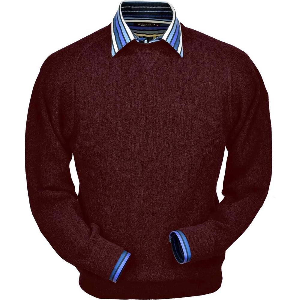 Baby Alpaca Link Stitch Sweatshirt Style Sweater in Wine Heather by Peru Unlimited