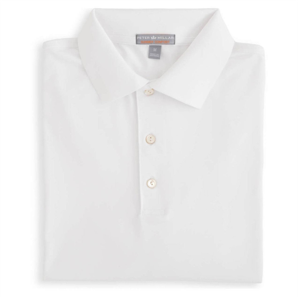 Solid E4 Summer Comfort Stretch Jersey Polo with Knit Collar in White by Peter Millar