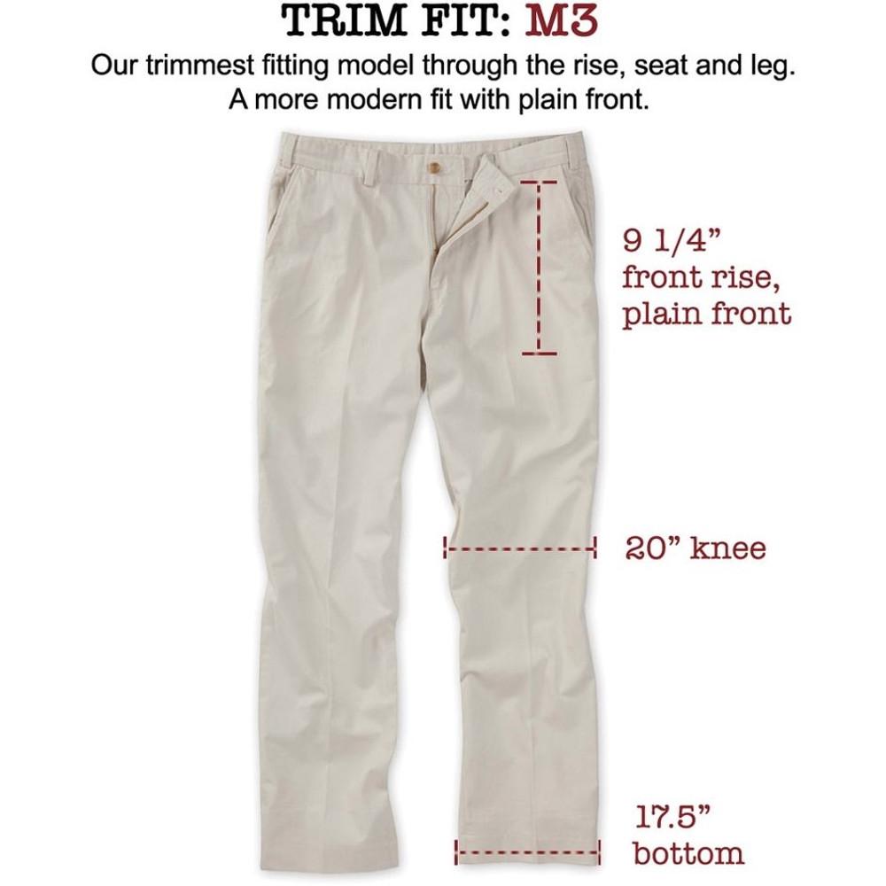 Original Twill Pant - Model M3 Trim Fit Plain Front in Khaki by Bills Khakis