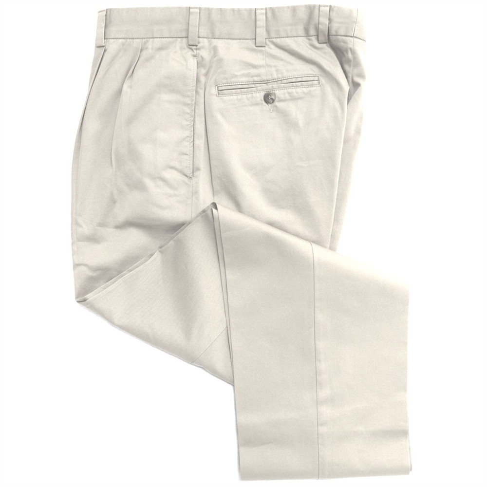 Vintage Twill Pant - Model F2P Standard Fit Reverse Pleat in Stone by Hansen's Khakis