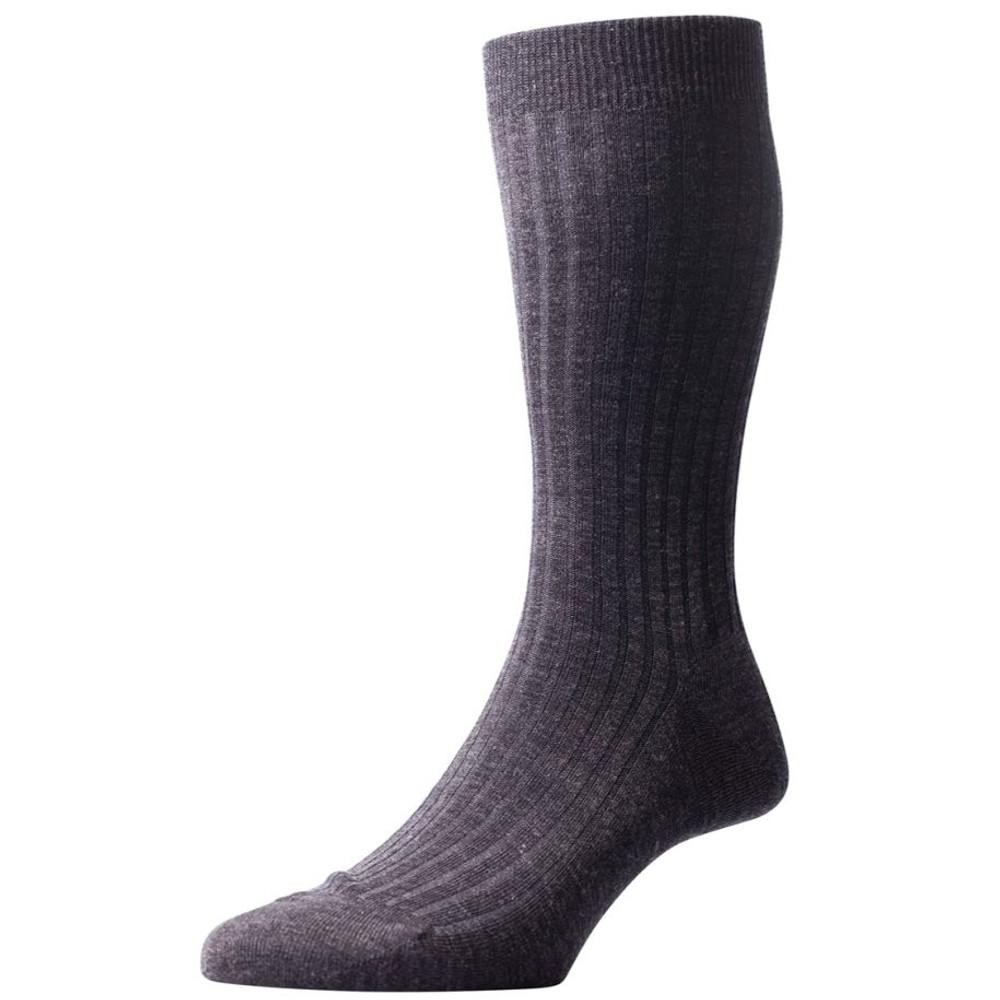 Laburnum - 5x3 Rib Merino Wool Sock in Charcoal (3 Pair) by Pantherella