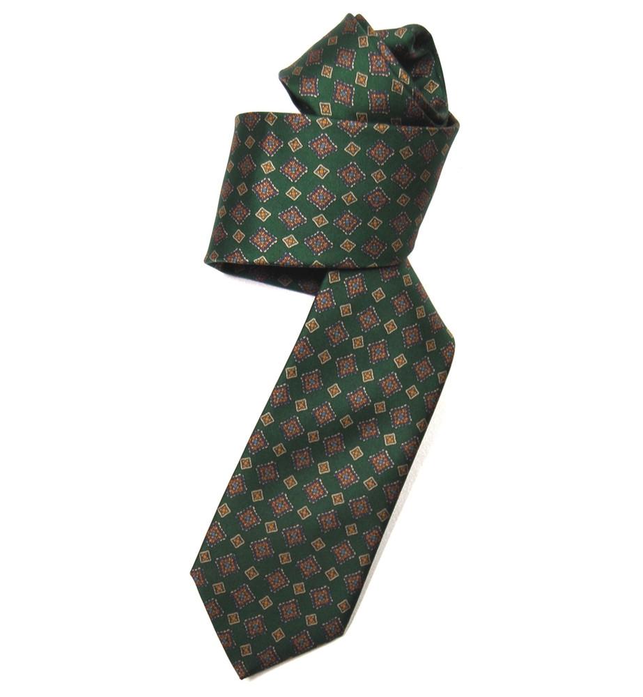 Green, Blue, and Rust Geometric Silk Tie by Marchesi di Como