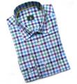 Sky and Purple 'Anderson' Check Sport Shirt by Robert Talbott