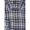 Blue and Grey Plaid Linen Sport Shirt (Size Large) by Robert Talbott