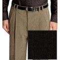 Pleated Wool Blend High Performance Corduroy Trouser in Ebony (Size 32 Only) by St. Croix