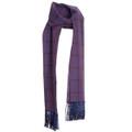 Cotton Scarf in Dark Purple Check with Navy Silk Fringe by Robert Talbott