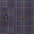 Navy and Brown Plaid 'Anderson II' Sport Shirt by Robert Talbott