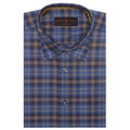 Blue, Tan, and Brown Plaid 'Anderson II' Sport Shirt by Robert Talbott