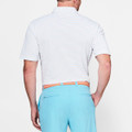 Peace Stripe Stretch Mesh 'Crown Sport' Performance Polo with Sean Self Collar in White and Grotto Blue by Peter Millar