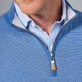 Crown Soft Striped Cotton and Silk Quarter-Zip Shawl Sweater in Tahoe Blue by Peter Millar