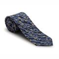 Spring 2018 Navy, Silver and Gold Swirl 'Regent' Seven Fold Woven Silk Tie by Robert Talbott