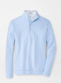 Perth Mini-Stripe Stretch Loop Terry Quarter-Zip Performance Pullover in Cottage Blue by Peter MIllar