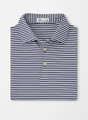 Competition Stripe Stretch Stretch Jersey 'Crown Sport' Performance Polo with Sean Self Collar in Navy/White by Peter Millar