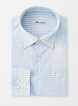 Captain Performance Tattersall Sport Shirt in White/Cottage Blue by Peter Millar