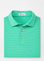Spring 2020 Jubilee Stripe Stretch Jersey 'Crown Sport' Performance Polo with Sean Self Collar in Pesto by Peter Millar