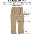 Vintage Twill Pant -(Size 34x34) Model M1P Relaxed Fit Forward Pleat in Khaki by Bills Khakis
