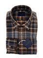 Double Brushed Flannel Exploded Sport Shirt in Chocolate by Calder Carmel