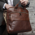 Jay Modern Briefcase in Titan Milled Brown by Moore & Giles