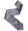 Green, Lilac, and Blue Paisley Stripe 'Claremont' Seven Fold Silk Tie by Robert Talbott