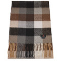 Merino Wool and Cashmere Woven Check Scarf in Brown Grey Combo by Alashan Cashmere