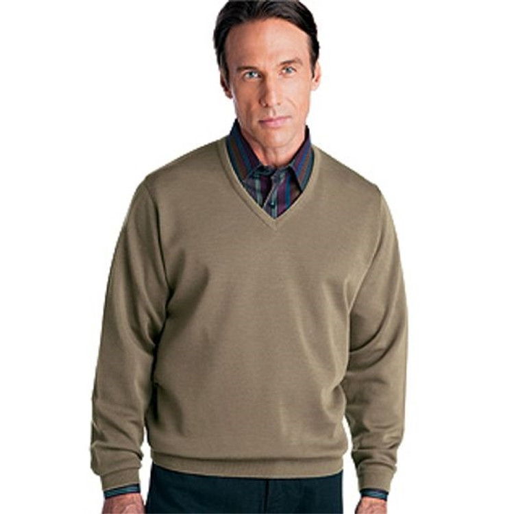 Classic Wool V-Neck Sweater in Havana by St. Croix
