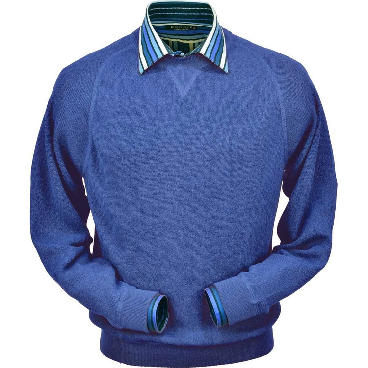 Baby Alpaca Link Stitch Sweatshirt Style Sweater in Royal Blue by Peru Unlimited