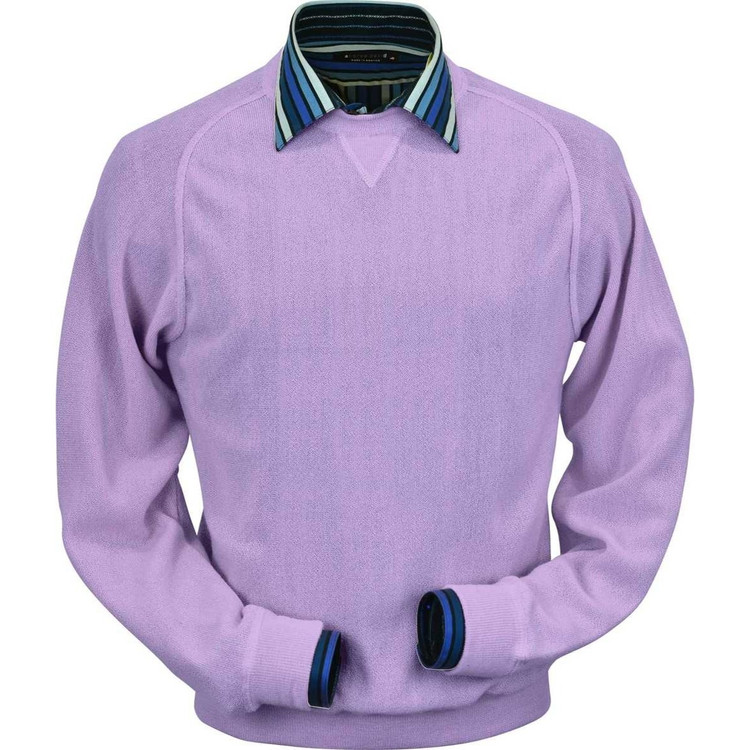 Baby Alpaca Link Stitch Sweatshirt Style Sweater in Lilac by Peru Unlimited