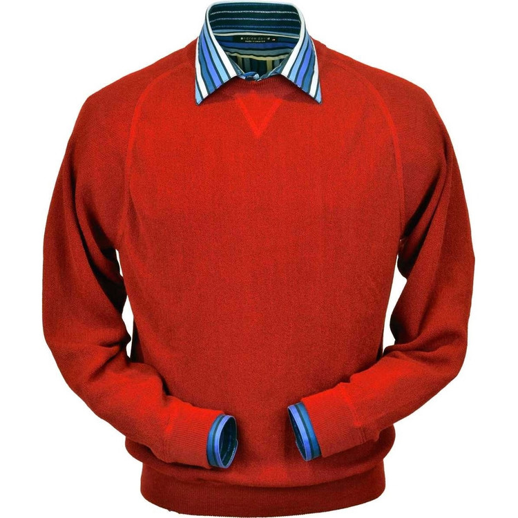 Baby Alpaca Link Stitch Sweatshirt Style Sweater in Red by Peru Unlimited