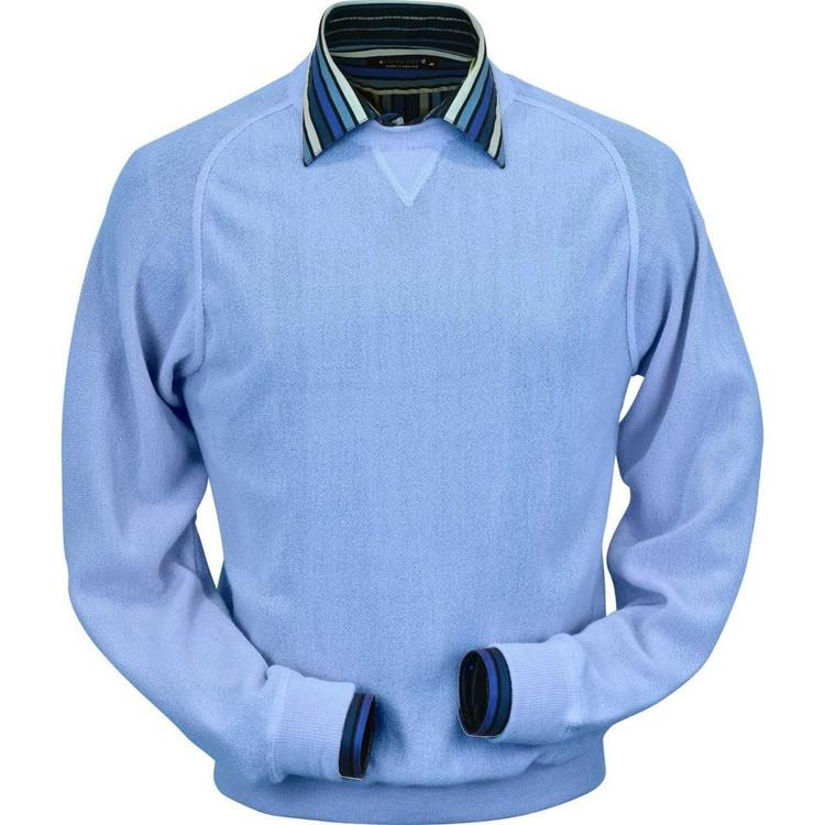 Baby Alpaca Link Stitch Sweatshirt Style Sweater in Sea Blue by Peru Unlimited