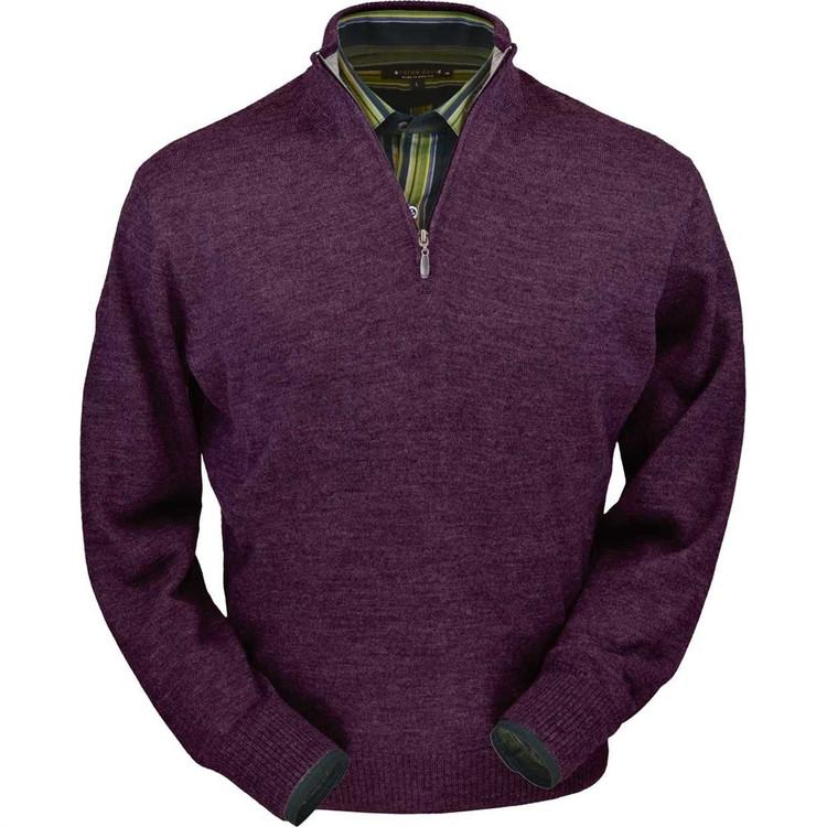 Royal Alpaca Half-Zip Sweater in Plum Heather by Peru Unlimited