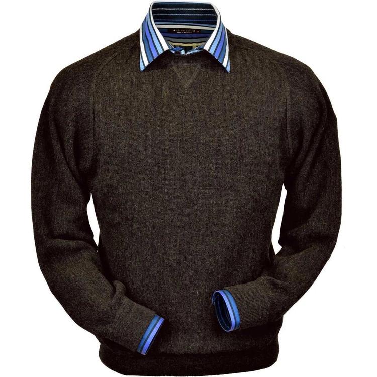 Baby Alpaca Link Stitch Sweatshirt Style Sweater in Pine Olive Heather by Peru Unlimited