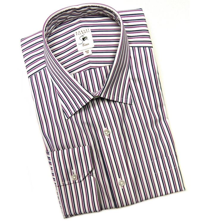Purple, Navy, and White Stripe Estate Dress Shirt by Robert Talbott