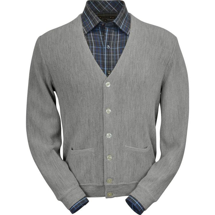 Baby Alpaca Link Stitch Cardigan Sweater in Silver Grey Heather by Peru Unlimited