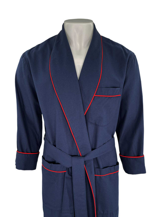 Gentleman's Genuine Cotton and Wool Blend Robe in Solid Navy with Red Piping by Viyella