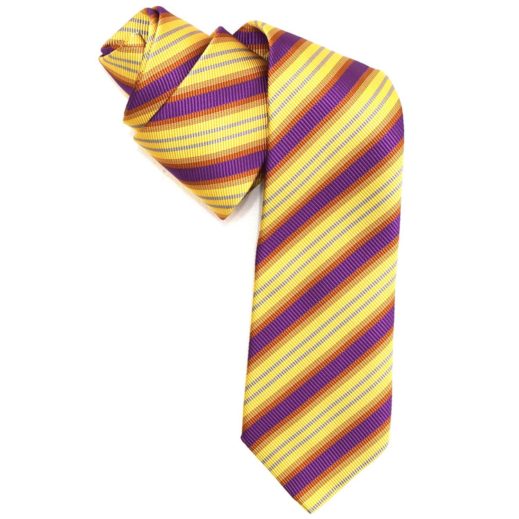 Lemon, Raspberry, and Orange Mogador Stripe Woven Silk Tie by Robert Jensen