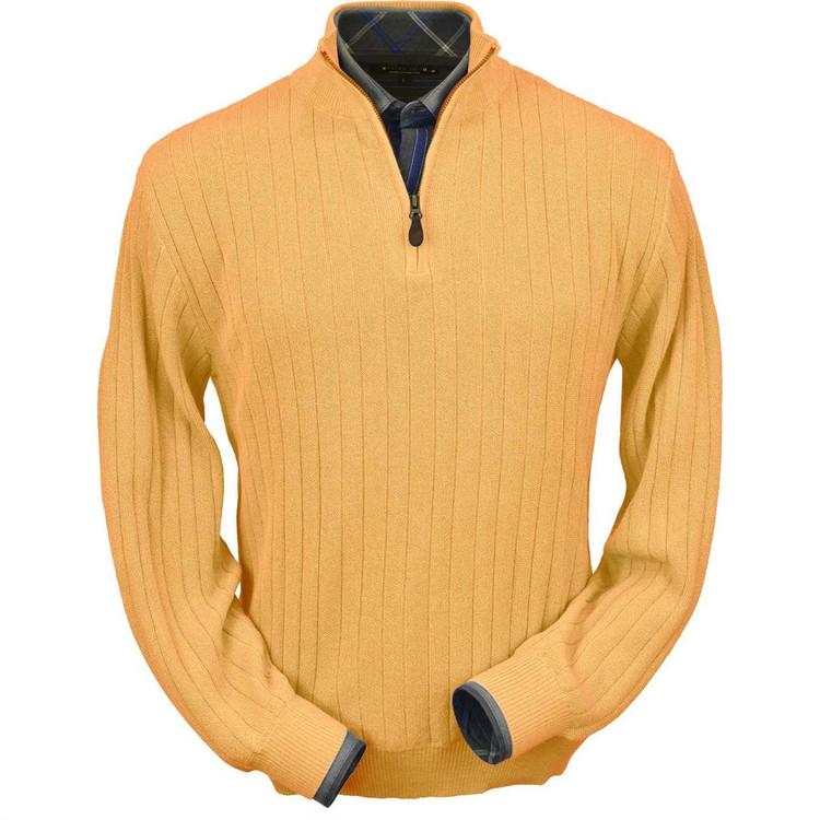 Baby Alpaca Link Stitch Half-Zip Mock Neck Sweater in Melon by Peru Unlimited