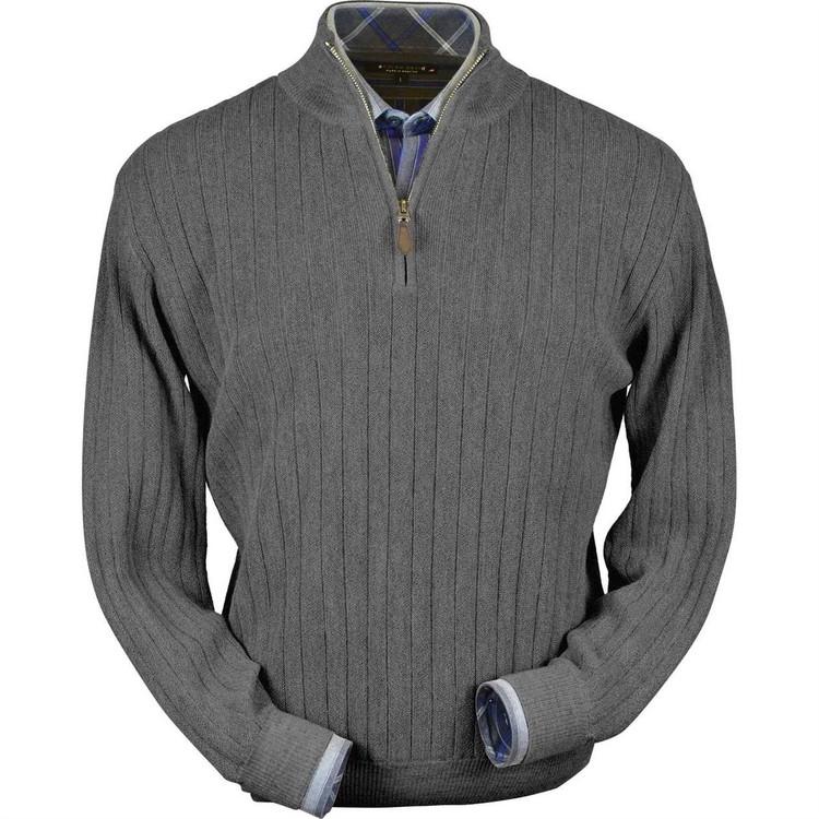 Baby Alpaca Link Stitch Half-Zip Mock Neck Sweater in Medium Grey Heather by Peru Unlimited