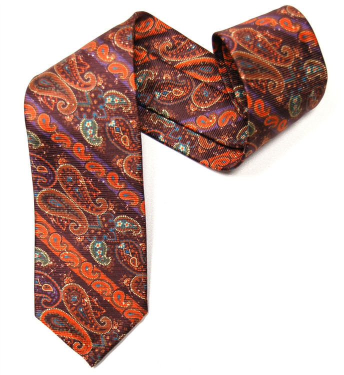Burgundy and Orange Paisley 'Jakarta Print' Seven Fold Silk Tie by Robert Talbott