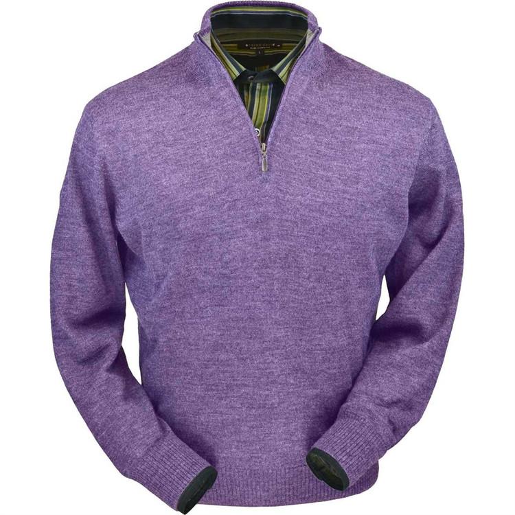 Royal Alpaca Half-Zip Sweater in Lilac Heather by Peru Unlimited