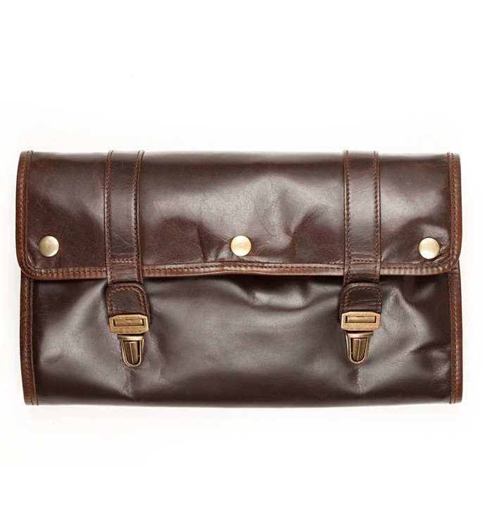 Austin Hanging Dopp Kit in Brompton Brown by Moore & Giles