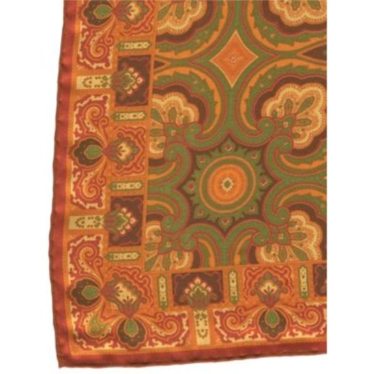 Medallion Silk Pocket Square in Poppy by Robert Talbott