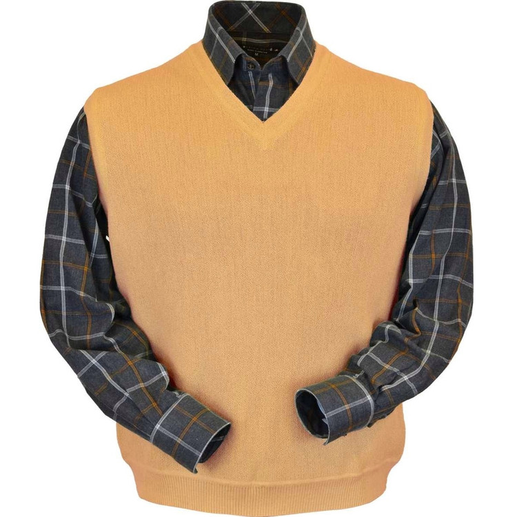 Baby Alpaca Link Stitch Sweater Vest in Melon by Peru Unlimited