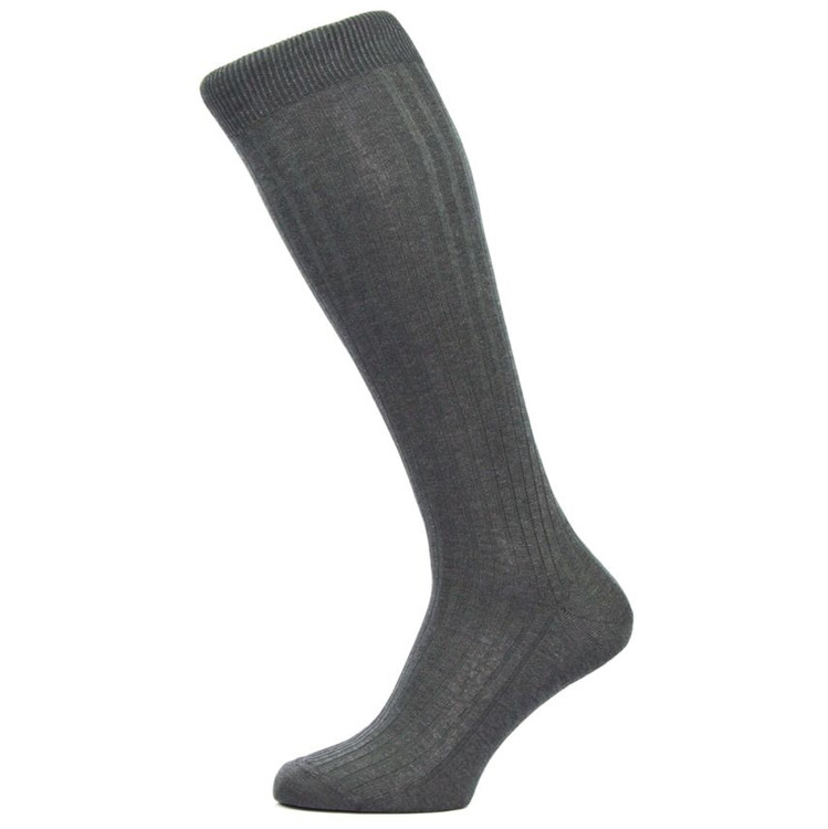 Danvers 5x3 Rib Cotton Lisle Over-the-Calf Sock in Dark Grey Mix (3 Pair) by Pantherella